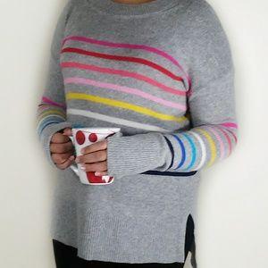 Gap | tunic sweater gray with rainbow stripes S